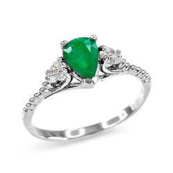 Emerald and White Topaz Stackable White Gold Rope Band Promise Ring