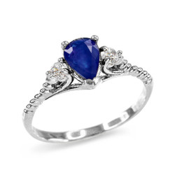 White Gold Blue Sapphire Stackable Promise Ring