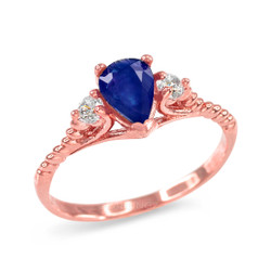 Blue Sapphire and Topaz Stackable Rose Gold Rope Band Promise Ring