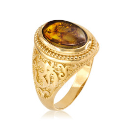 Gold Om ring with Amber
