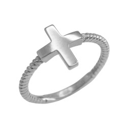 Sterling Silver Twisted Band Greek Cross Ring