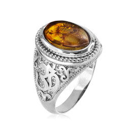 White Gold Om ring with Amber