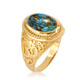 Gold Turquoise Om ring.
