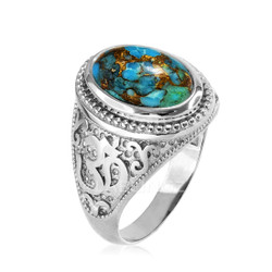 Silver Turquoise Om ring.