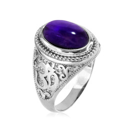 White Gold Om ring with Amethyst Birthstone