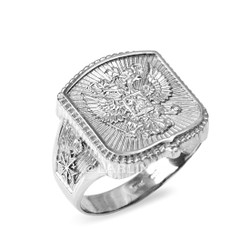 White Gold Russian Men's Ring.