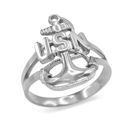 Sterling Silver USNC Navy Ring