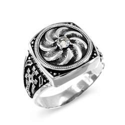 Antique Silver Armenian Men's Diamond Ring