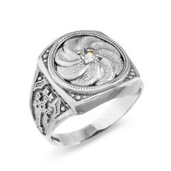 White Gold Armenian Men's Diamond Ring