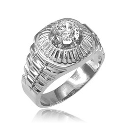 Sterling Silver Watchband Design Mens CZ Ring