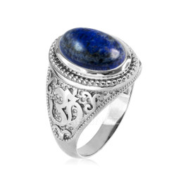 White Gold Lapis Lazuli Om ring