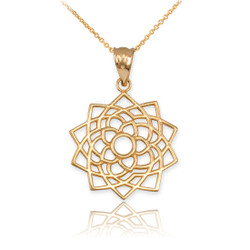 Gold Sahasrara Lotus Unity Chakra Yoga Pendant Necklace