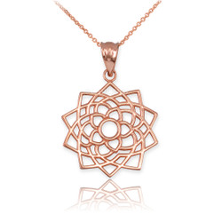 Rose Gold Sahasrara Lotus Unity Chakra Yoga Pendant Necklace