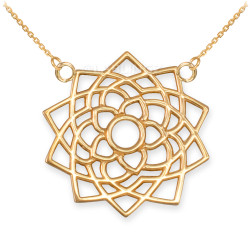 14K Gold Sahasrara Lotus Unity Chakra Yoga Necklace