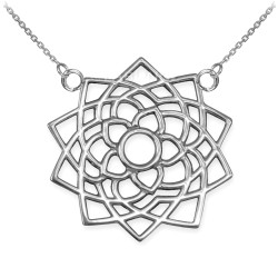 14K White Gold Sahasrara Lotus Unity Chakra Yoga Necklace