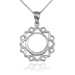 White Gold Vishuddha Chakra Yoga Pendant Necklace