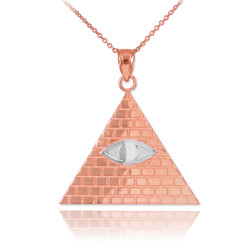 Two-tone Rose Gold Illuminati All-Seeing-Eye Pyramid Pendant Necklace