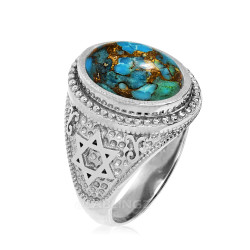 Sterling Silver Star of David Blue Copper Turquoise Jewish Statement Ring