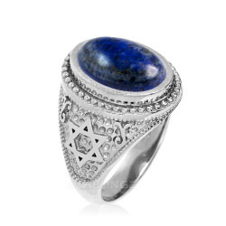 Sterling Silver Star of David Lapis Lazuli Jewish Statement Ring
