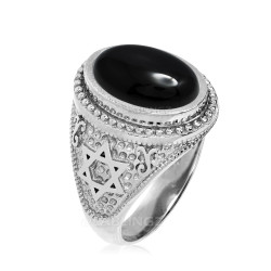 Sterling Silver Star of David Black Onyx Jewish Statement Ring