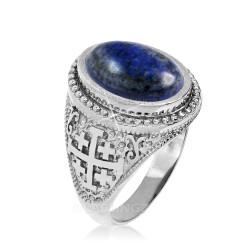 Sterling Silver Jerusalem Cross Lapis Lazuli Statement Ring