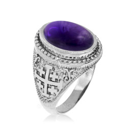 Sterling Silver Jerusalem Cross Amethyst Cabochon Statement Ring
