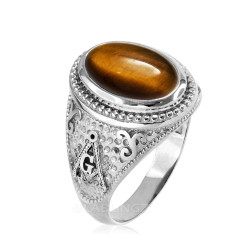 Sterling Silver Masonic Ring with Tiger Eye Gemstone