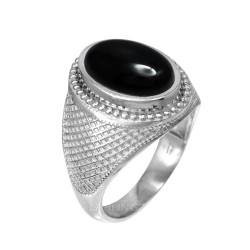 Sterling Silver Oval Onyx Gemstone Statement Ring