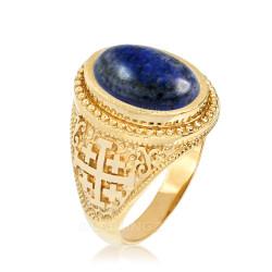 Yellow Gold Jerusalem Cross Lapis Lazuli Gemstone Statement Ring