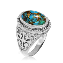 White Gold Jerusalem Cross Blue Copper Turquoise Statement Ring