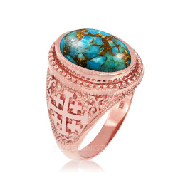 Rose Gold Jerusalem Cross Blue Copper Turquoise Statement Ring