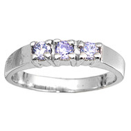 Tri Stones Lavender Cubic Zirconia Petite Rings Sterling Silver 925
