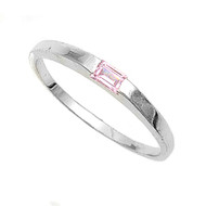 Solitaire Baguette Pink Cubic Zirconia Petite Rings Sterling Silver 925