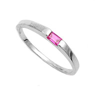 Solitaire Baguette Simulated Ruby Cubic Zirconia Petite Rings Sterling Silver 925