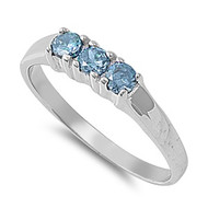 Tri Stones Blue Simulated Topaz Cubic Zirconia Petite Rings Sterling Silver 925