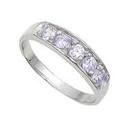 Five Stones Round Center Lavender Cubic Zirconia Petite Rings Sterling Silver 925