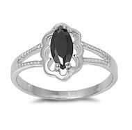 Filigree Marquise Black Cubic Zirconia Petite Rings Sterling Silver 925