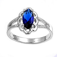 Filigree Marquise Simulated Sapphire Cubic Zirconia Petite Rings Sterling Silver 925