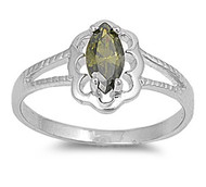 Filigree Marquise Green Olive Cubic Zirconia Petite Rings Sterling Silver 925