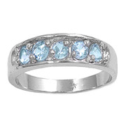 Five Stones Center Simulated Aquamarine Cubic Zirconia Petite Rings Sterling Silver 925