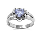 Floral Heart Lavender Cubic Zirconia Petite Rings Sterling Silver 925