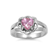 Floral Heart Pink Cubic Zirconia Petite Rings Sterling Silver 925