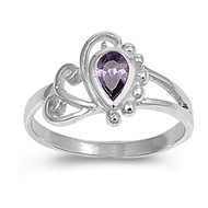 Filigree Teardrop Simulated Amethyst Cubic Zirconia Petite Rings Sterling Silver 925