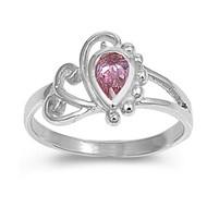 Filigree Teardrop Pink Cubic Zirconia Petite Rings Sterling Silver 925
