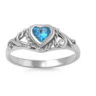 Filigree Heart Blue Simulated Topaz Cubic Zirconia Petite Rings Sterling Silver 925
