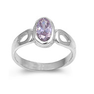 Solitaire Oval Lavender Cubic Zirconia Petite Rings Sterling Silver 925