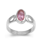 Solitaire Oval Pink Cubic Zirconia Petite Rings Sterling Silver 925