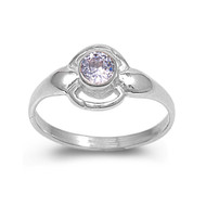 Solitaire Round Lavender Cubic Zirconia Petite Rings Sterling Silver 925