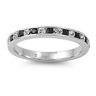 Eternity Ring Black & White Cubic Zirconia Sterling Silver 925