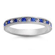 Eternity Ring Blue & Clear Cubic Zirconia Sterling Silver 925